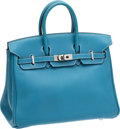 Luxury Accessories:Bags, Hermes 25cm Blue Jean Swift Leather Birkin Bag with Palladium Hardware. ...