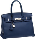 Luxury Accessories:Bags, Hermes 30cm Brighton Blue Clemence Leather Birkin Bag withPalladium Hardware. ...