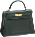 Luxury Accessories:Bags, Hermes 32cm Vert Fonce Calf Box Leather Kelly Bag with GoldHardware. ...