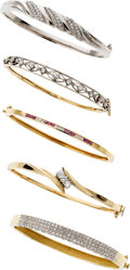 Estate Jewelry:Lots, Diamond, Ruby, Platinum, Gold Bracelets . ... (Total: 5 Items)