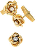 Estate Jewelry:Cufflinks, Gentleman's Diamond, Gold Cuff Link & Tie Tac Set. ...