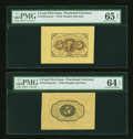 Fr. 1231SP 5¢ First Issue Wide Margin Pair. PMG Gem Uncirculated 65 EPQ and Choice Uncirculated 64 EPQ