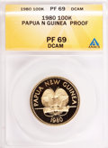 Papua New Guinea, Papua New Guinea: Republic gold 100 Kina 1980 Map & Flag,...