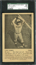 Baseball Cards:Singles (1930-1939), 1932 NY Giants Post Cards Carl Hubbell, Thin Stock SGC 80 EX/NM 6. ...
