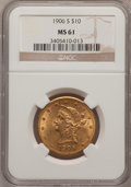 Liberty Eagles: , 1906-S $10 MS61 NGC. NGC Census: (0/0). PCGS Population (47/89).Mintage: 457,000. Numismedia Wsl. Price for problem free N...