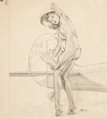 Pin-up and Glamour Art, AL BUELL (American, 1910-1996). Pin-Up pencil study, circa1950. Pencil on paper. 17.5 x 15.5 in.. Signed lower right. ...