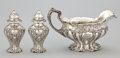 Silver Holloware, American:Creamers and Sugars, AN AMERICAN SILVER SAUCE BOAT AND SALT AND PEPPER SHAKERS . GorhamManufacturing Co., Providence, Rhode Island, circa 1920. ...(Total: 3 Items)