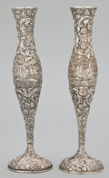 Silver Holloware, American:Vases, A PAIR OF AMERICAN SILVER CHASED REPOUSSÉ VASES . Loring Andrews& Co., Cincinnati, Ohio, circa 1900. Marks: THE LORING AN...(Total: 2 Items)