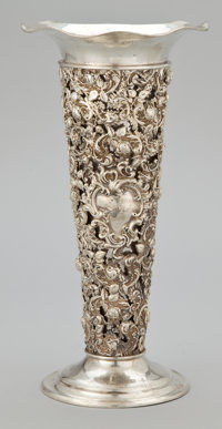 AN AMERICAN SILVER RETICULATED VASE WITH GALVANIZED STEEL LINER The Mauser Manufacturing Company, New York, New Y