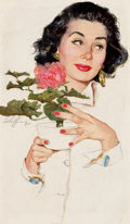 Mainstream Illustration, JIM SCHAEFFING (American, 20th Century). Beauty with Rose,magazine story illustration, circa 1950. Mixed media onboard...
