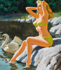 Pin-up and Glamour Art, ARTHUR SARON SARNOFF (American, 1912-2000). Lady and theSwan. Acrylic on board. 23 x 20 in.. Signed lower left. ...