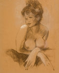 Pin-up and Glamour Art, PETER DRIBEN (American, 1902-1968). Female nude study.Pastel on brown paper. 19.5 x 15.5 in.. Signed lower right.F...