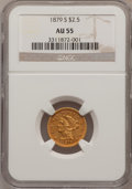 Liberty Quarter Eagles: , 1879-S $2 1/2 AU55 NGC. NGC Census: (35/79). PCGS Population(13/13). Mintage: 43,500. Numismedia Wsl. Price for problem fr...