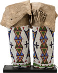 American Indian Art:Beadwork and Quillwork, A PAIR OF SIOUX WOMAN'S BEADED HIDE LEGGINGS . c. 1890... (Total: 2Items)