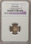 Seated Half Dimes: , 1865 H10C --Improperly Cleaned--NGC Details. VG. NGC Census:(0/46). PCGS Population (1/63). Mintage: 13,000. Numismedia Wsl...