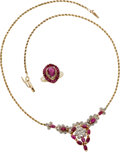 Estate Jewelry:Suites, Ruby, Gold Jewelry Suite. ...