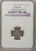 Seated Half Dimes, 1866 H10C --Improperly Cleaned--NGC Details. VF. NGC Census:(0/49). PCGS Population (2/62). Mintage: 10,000. Numismedia...