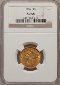Liberty Half Eagles: , 1857 $5 AU58 NGC. NGC Census: (114/43). PCGS Population (25/37).Mintage: 98,180. Numismedia Wsl. Price for problem free NG...