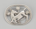 Silver Smalls:Other , A DANISH SILVER BROOCH . Georg Jensen, Inc., Copenhagen, Denmark,after 1945. Marks: GEORG JENSEN (within dotted oval), ...