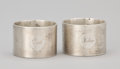 Silver Smalls:Other , A PAIR OF ENGLISH SILVER MACHINE TURNED NAPKIN RINGS . EdwardBarnard & Sons Ltd, London, England, 1944-1945. Marks: (lionp... (Total: 2 Items)
