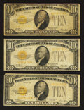 Small Size:Gold Certificates, Fr. 2400 $10 1928 Gold Certificates. Three Examples. Very Good.. ... (Total: 3 notes)