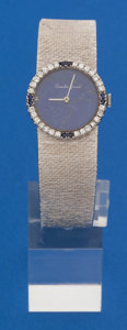 Timepieces:Wristwatch, Bueche Girod Ladies 18k White Gold Diamond & Sapphire Wristwatch with Lapis Lazuli Dial. ...