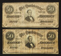 Confederate Notes:1864 Issues, T66 $50 1864 Two Examples.. ... (Total: 2 notes)