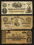 Confederate Notes:1862 Issues, Three Confederate Notes.. ... (Total: 3 notes)