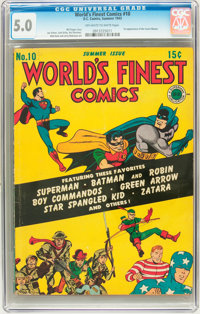 World's Finest Comics #10 (DC, 1943) CGC VG/FN 5.0 Off-white to white pages