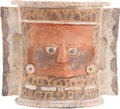 Antiques:Antiquities, Large Maya Urn with Red Face...