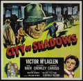 "Movie Posters:Crime, City of Shadows (Republic, 1955). Six Sheet (81"" X 81""). Crime.Starring Victor McLaglen, John Baer, Kathleen Crowley and An..."