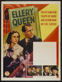 """Ellery Queen Stock Poster (Columbia, 1940). Poster (30"""" X 40""""). From 1940-41, Ralph Bellamy played fictional s..."""