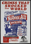 "Movie Posters:Documentary, Killers All (Toddy Pictures, 1945). One Sheet (27"" X 41"").Documentary. Starring John Dillinger, Bonnie Parker, ClydeBarrow..."