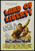 """Movie Posters:Documentary, Land of Liberty (MGM, 1939). One Sheet (27"""" X 41""""). Documentary. Starring Don Ameche, Wallace Beery, George Raft, Randolph S..."""