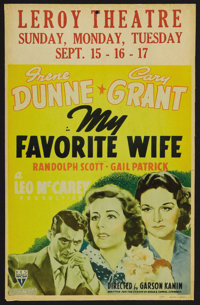 "My Favorite Wife (RKO, 1940). Window Card (14"" X 22""). Romantic Comedy. Starring Irene Dunne, Cary Grant, Rand..."