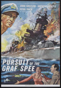 "Movie Posters:War, Pursuit of the Graf Spee (Rank, 1956). One Sheet (27"" X 41""). Thestory of the first great naval battle of WWII between the ..."