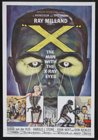 """X-The Man With the X-Ray Eyes (AIP, 1963). One Sheet (27"""" X 41"""") and Press Book (Multiple Pages). Sci-Fi Thril..."""