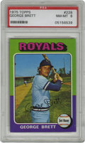 Baseball Cards:Singles (1970-Now), 1975 Topps George Brett #228 PSA NM-MT 8. The colorful '75 Topps Mini set is notorious for producing few high-grade cards,...