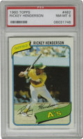 Baseball Cards:Singles (1970-Now), 1980 Topps Rickey Henderson #482 PSA NM-MT 8. Here we offer a highgrade 1980 Topps Rickey Henderson rookie card of the all...