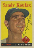 Autographs:Sports Cards, 1958 Topps Signed Sandy Koufax #187. The man perhaps responsiblefor the most dominant six years any pitcher has ever enjoy...