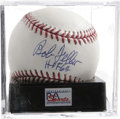"Autographs:Baseballs, Bob Feller ""HOF 62"" Single Signed Baseball, PSA Mint+ 9.5. Highgrade inscription single from the winningest pitcher in Cle..."