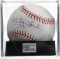 Autographs:Baseballs, Whitey Ford Single Signed Baseball, PSA Mint 9. A high-gradeexecution of Whitey Ford's Hall of Fame signature appears on t...