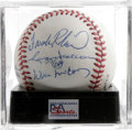 Autographs:Baseballs, 500 Home Run Club Multi-Signed Baseball, PSA NM-MT 8. Four of thegame's all-time top sluggers -- Frank Robinson, Eddie Mat...