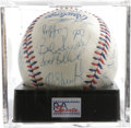 Autographs:Baseballs, 1984 U.S. Olympics Team Signed Baseball PSA NM+ 7.5. The Los Angeles Games Silver Medal winners celebrate here on this offi...