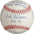 Autographs:Baseballs, Bob Gibson Single Signed Stat Baseball. One of the most dominanteras ever enjoyed a pitcher is owned by dominant St. Louis...