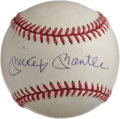 Autographs:Baseballs, Mickey Mantle Single Signed Baseball. Perfect example of the Mick'sblue ink signature appears on the sweet spot of the off...