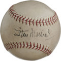 Autographs:Baseballs, Vintage Stan Musial Single Signed Baseball. The perennial candidatefor NL MVP Stan Musial offers his signature to the swee...