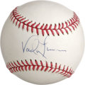 Autographs:Baseballs, Vada Pinson Single Signed Baseball. The clean white surface of theprovided ONL (White) make the perfect canvas for the pri...