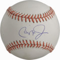 Autographs:Baseballs, Cal Ripken, Jr. Single Signed Baseball. The Iron Man shortstop hasadded a wonderful sweet spot signature to this OAL (Budi...