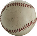 Autographs:Baseballs, Babe Ruth Single Signed Baseball. An overall clean exemplar of anOfficial National League orb with commissioner Ford Frick...